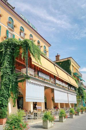 Colorful hotels in Bellagio, Lake Como, Italy
