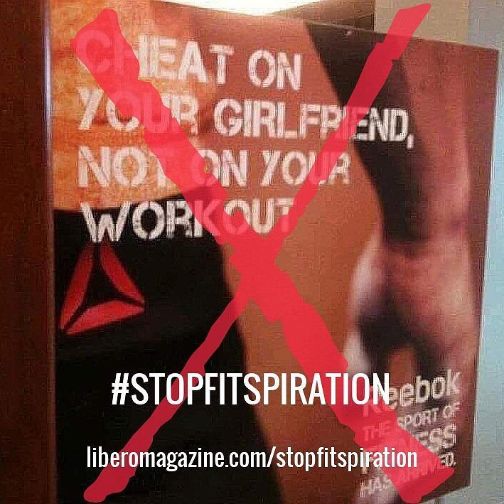 We just can't with this #Reebok poster...  #stopfitspiration #notbuyingit