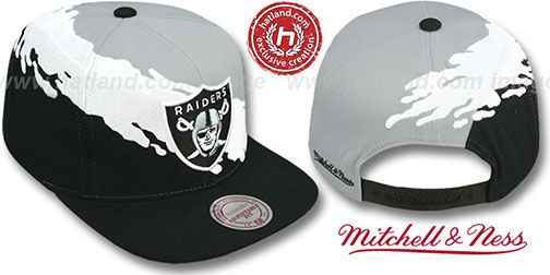 Raiders PAINTBRUSH SNAPBACK Grey-White-Black Hat by Mitchell