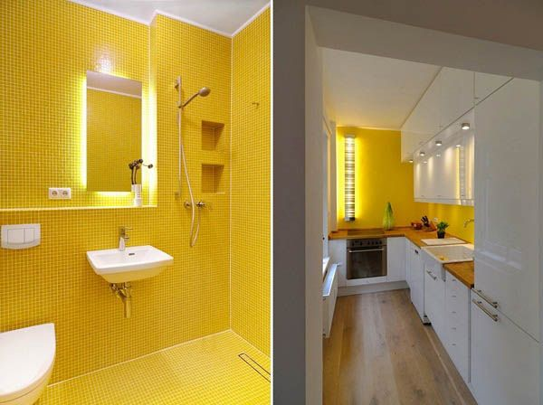 Don't look at the yellow bathroom--it will blind you.  Just look at the kitchen.  white yellow small kitchen | White Decorating with Yellow Color Accents, Contemporary Apartment ...
