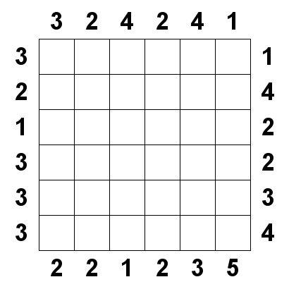 Number Logic Puzzles: 20214 - Skyscraper size 6