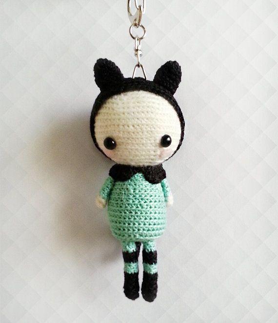 Crochet Doll Keychain Crochet Amigurumi Doll OOAK by krokrolamb