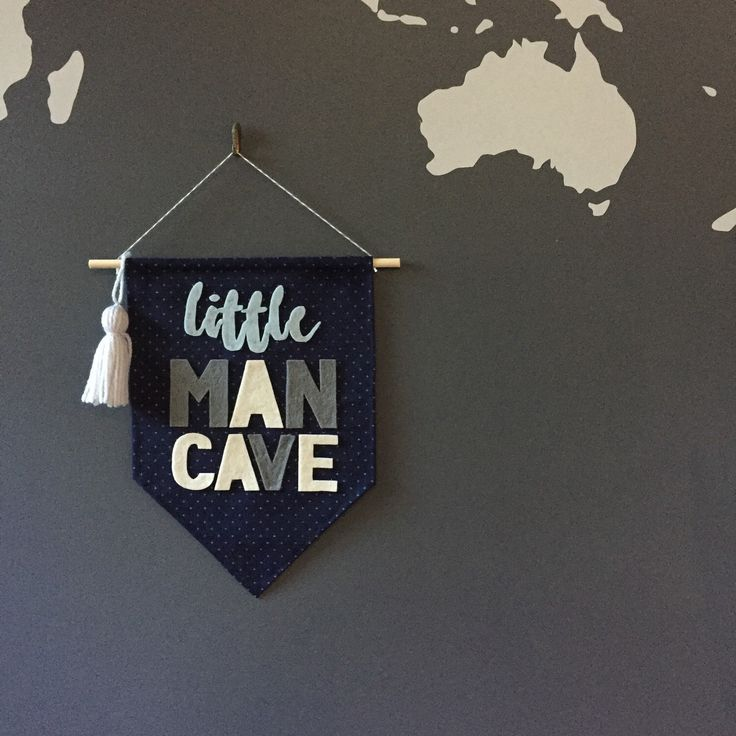 Little man cave wall banner, boys room wall flag, pennant, kids playroom, tassel, crosses, ready to ship by Hangingwithlucy on Etsy https://www.etsy.com/listing/270232222/little-man-cave-wall-banner-boys-room