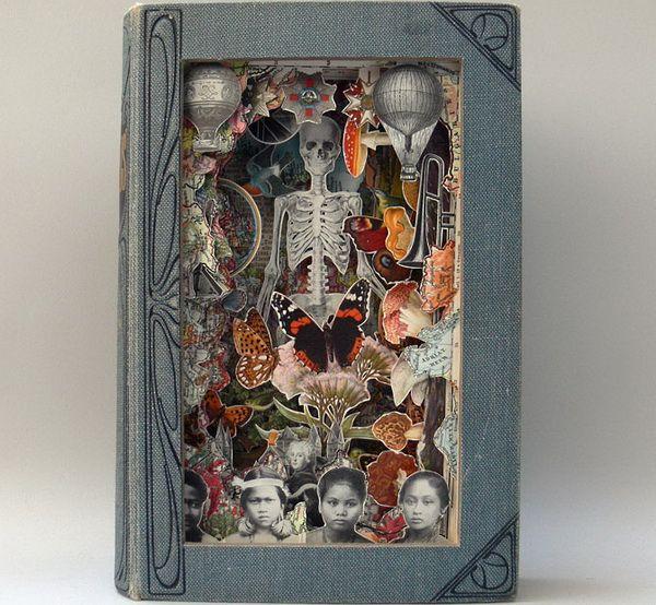 Художник Alexander Korzer-Robinson занимается тем что, разрезая антикварные книги, создаёт из них произведения искусства. Вырезая послойно страницы, он оставляет разного вида рисунки, создавая тем самым определённую композицию, даже каким-то образом напоминающую декорации театров. По окончанию работы книги запечатываются со всех сторон, чтобы их невозможно было открыть.