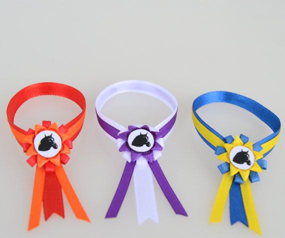 Three SASHES with ROSETTES for Schleich model HORSES