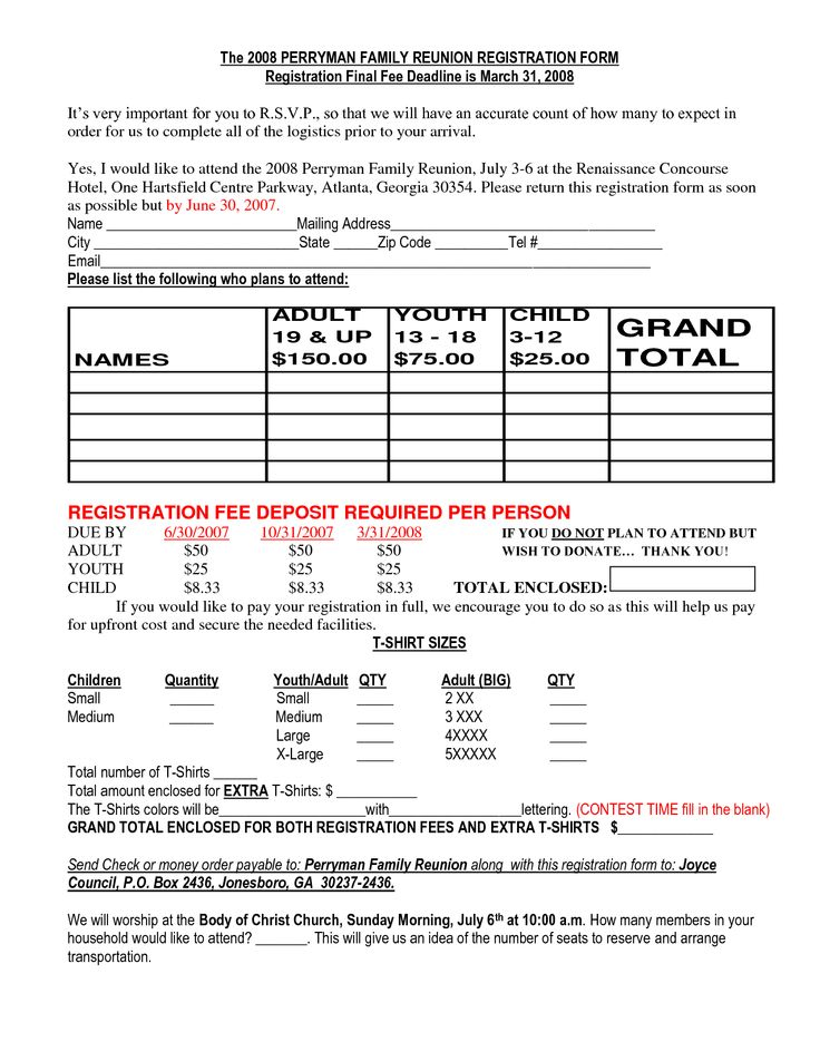 family reunion registration packet | Family Reunion Registration Form Samples