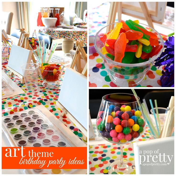 Fun birthday idea for tween girls: an art theme party with water-colour painting.