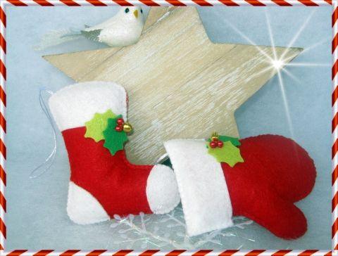 Karácsonyi csizma - kesztyű szett III., Otthon, lakberendezés, Dekoráció, Karácsonyi, adventi apróságok, Karácsonyi dekoráció, Meska