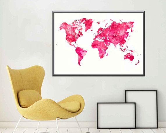 Pink World Map Watercolor World Map Large World Map by DaniJArts