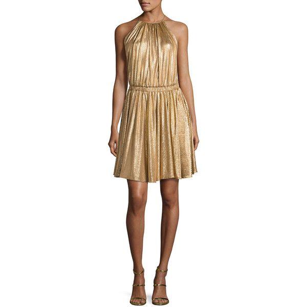 Halston Heritage Metallic Jersey Racerback Cocktail Dress ($325) ❤ liked on Polyvore featuring dresses, light brown, women's apparel dresses, sleeveless jersey dress, jersey dress, racerback dress, sleeveless cocktail dress and metallic cocktail dress