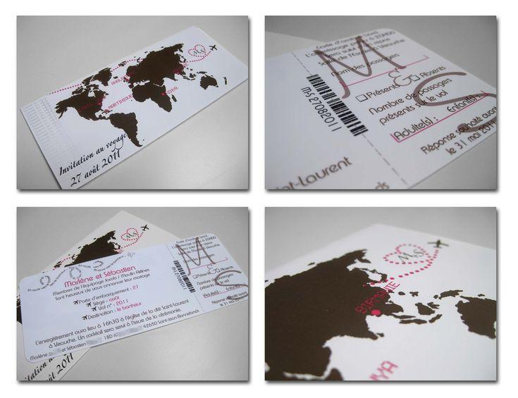 Faire-part billet davion chocolat et rose - Jolies créations, le blog des Faits à Façn