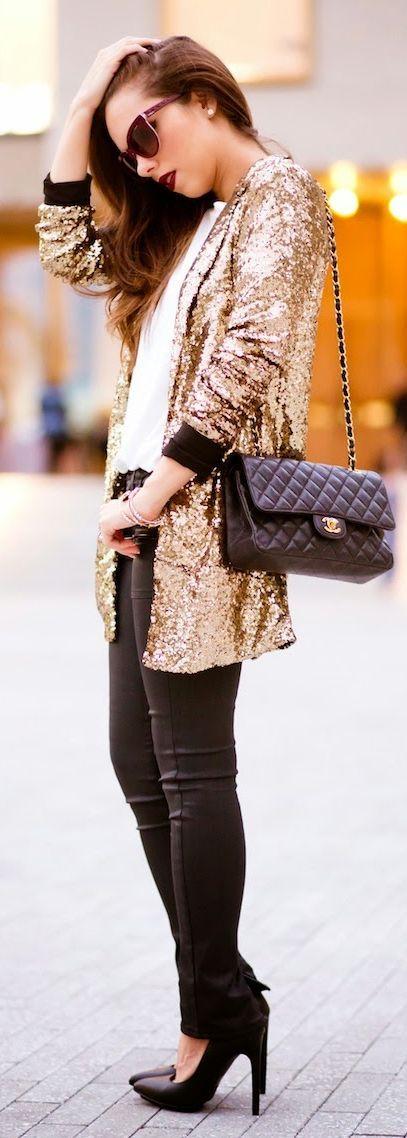 Gold Sequin Jacket by Nany's Klozet