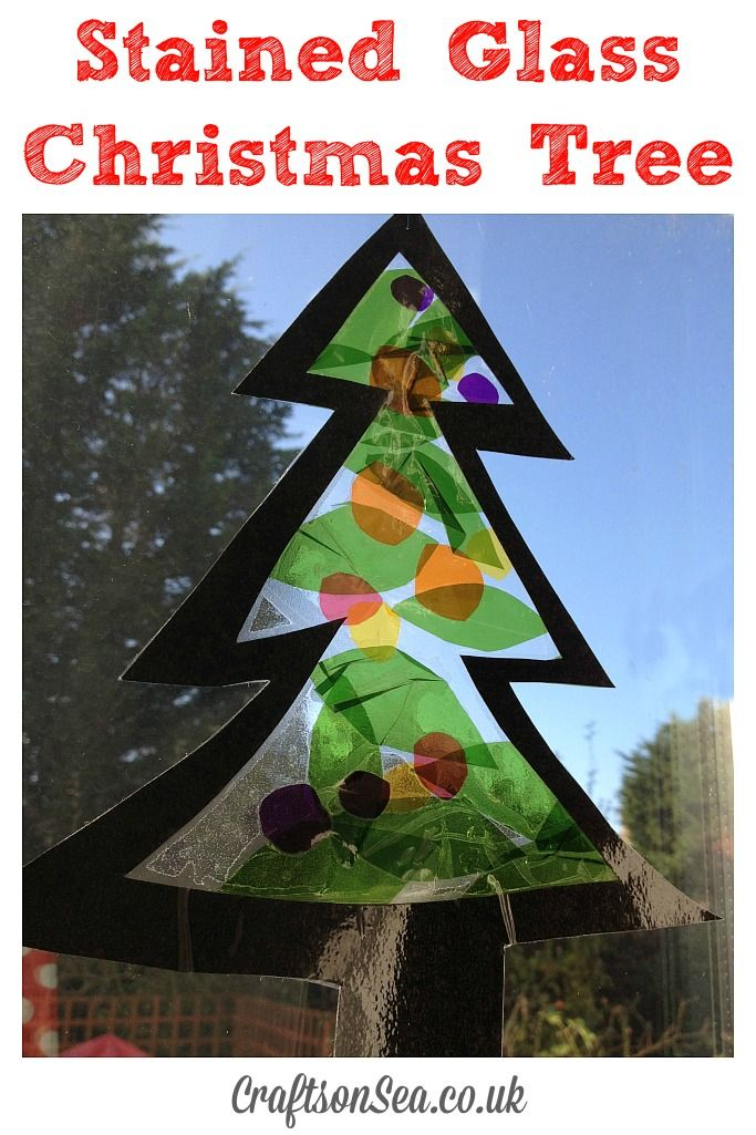 Stained Glass Christmas Tree Suncatcher - Crafts on Sea