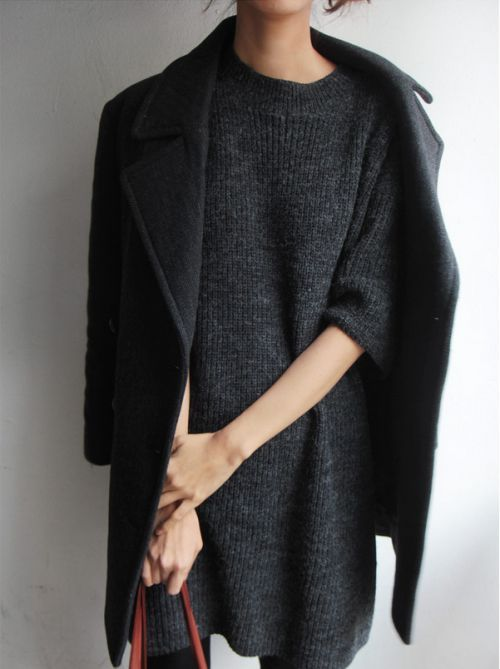 glamblack:   Knitted sweater ➪  Coat ➪   http://www.fashionclue.net | Fashion Tumblr, Street Wear & Outfits