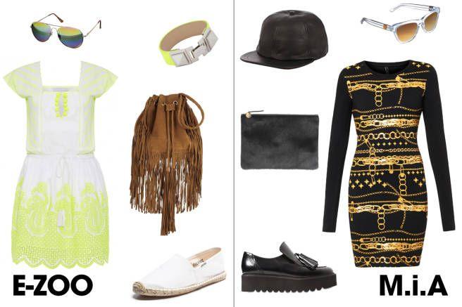 dress (Electric Zoo): neon yellow dress, espadrilles, aviator sunglasses, shoulder bag, bracelet; (Made in America): jersey dress, shoes, cap, flat clutch, sunglasses