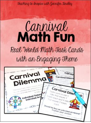 FREE math task cards with a fun carnival theme. These task cards review a real world math experience in a fun way.