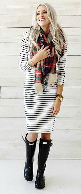 Striped dress, plaid blanket scarf, hunter boots