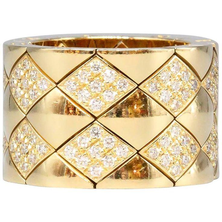 CHANEL Matelasse Diamond  Gold Flexible Wide Band Ring 1