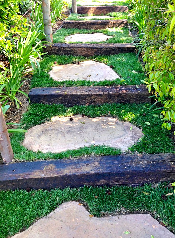 Landscaping Ties Nanaimo : Steps stairs on sacks hillside landscaping and faux rock