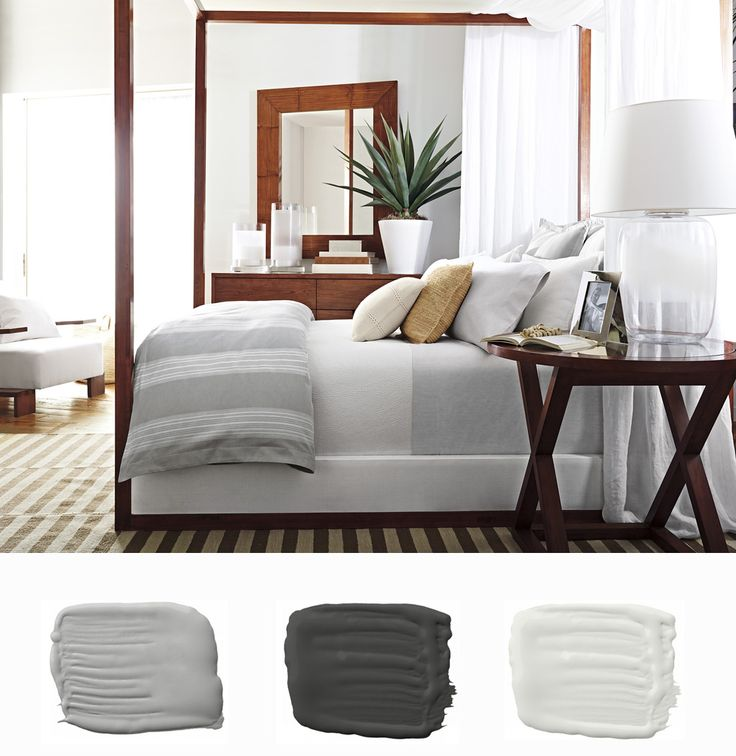 ... Hotel Room RL Bedroom Makeover: Dune Lane Collection Striped Bedding In  Airy Hues Of White And Pale Gray With A Complementary Palette From Ralph  Lauren ...