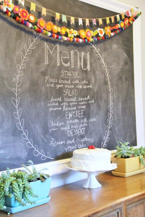 dinner party menu chalkboard -supper club that meets once a month and everyone takes a turn hosting