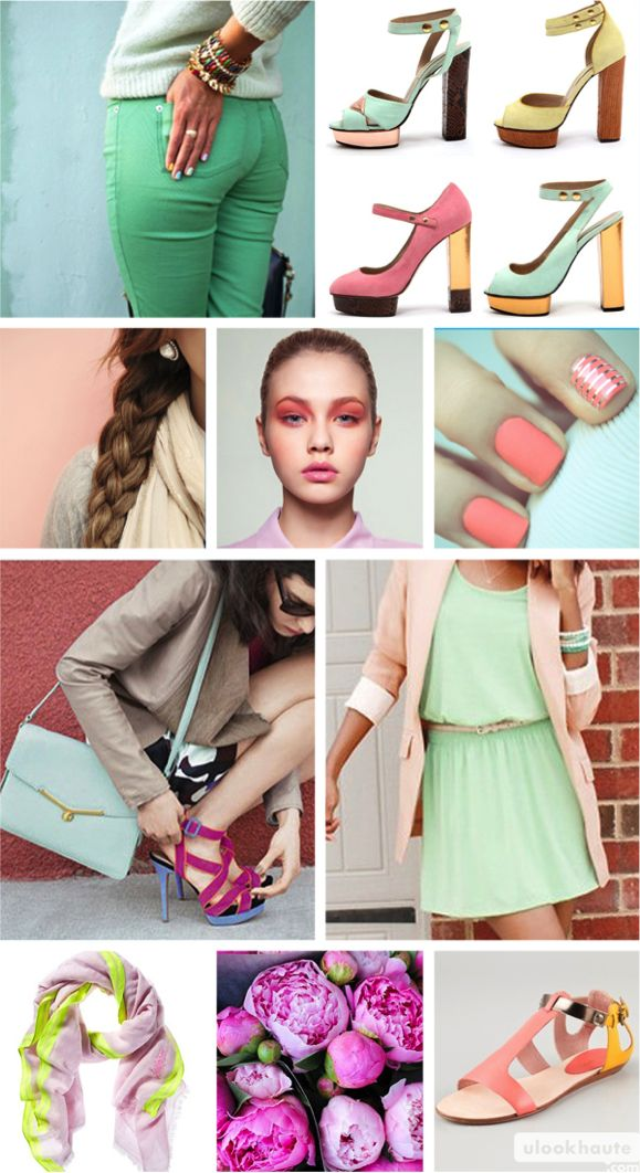 YESS!! Pastel lovers..April Mood, Fashion Shoes, Spring Colors, Pastel Colors, April 2012, 2012 Mood, Pastel Mood, Spring Mood Boards, Boards Spring