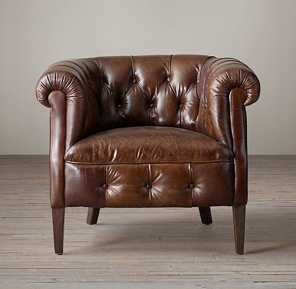 RH 1930s English Tufted Leather Tub Chair - Pewter Leather