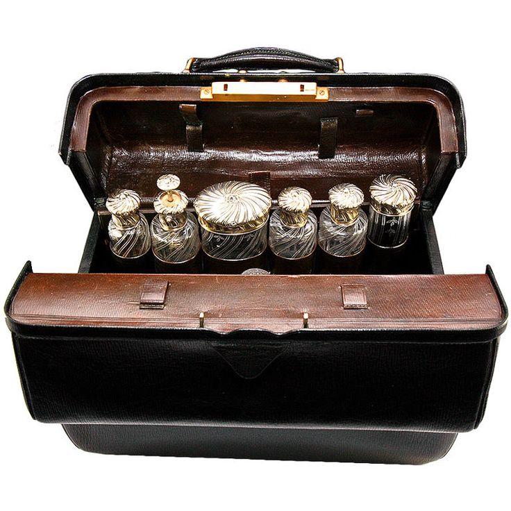 Antique French Sterling Silver Vanity, P Sormani Valise, Dr. Bag