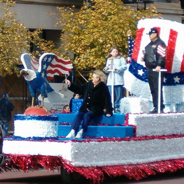 Military parade floats columbus veterans day um