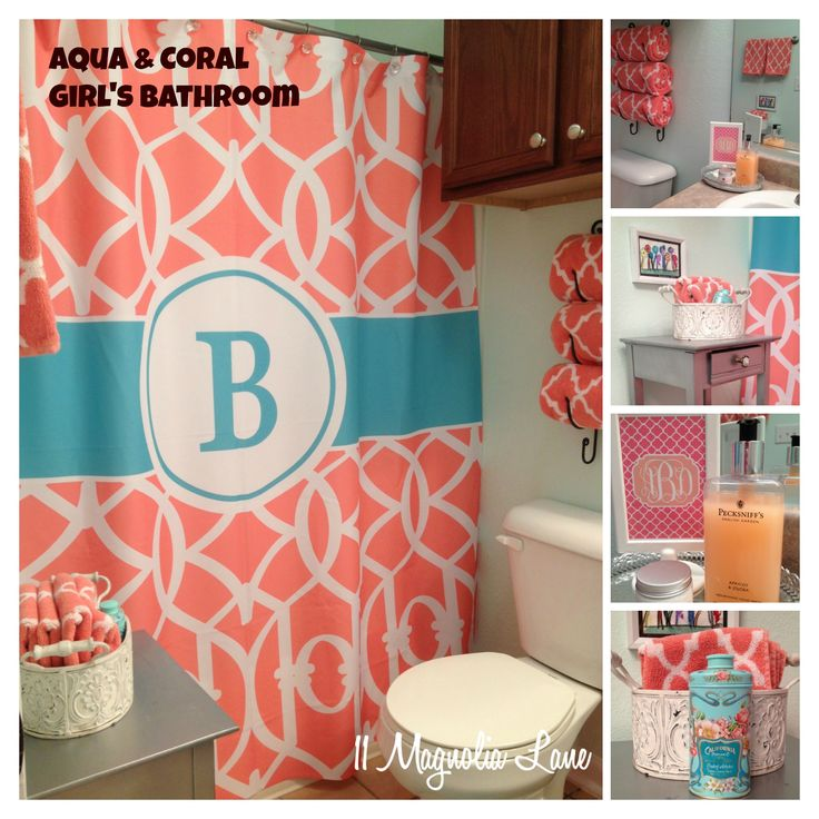 A builder-grade bathroom is transformed with aqua and coral. Quatrefoil towels and a monogrammed trellis pattern shower curtain complete the look.