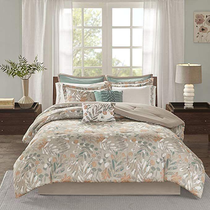 Jla Home Inc Madison Park Fay King Size Bed Comforter Set Bed In A Bag Taupe Floral Leaf 10 Pieces Bedd Comforter Sets Bed Comforter Sets Duvet Cover Sets