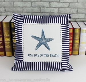 These attractive star fish cushion covers will add a beachy touch to your room, creating a relaxing and calming feeling. This high quality thick cushion cover features a beautiful blue starfish with a dark blue striped border. It can be added to any sofa, armchair or futon to provide an instant beach style. Fits cushion inserts 40cm x 40cm. Hidden Zip closure. Will happily combine shipping if you require a pair. 30 day refund policy if change of mind.