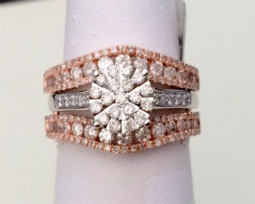 14k Rose Gold Solitaire Enhancer Round 1.00ct Diamonds Ring Guard Wrap Jacket by RG&D... #gold #diamonds #ringguard #wrap #enhancer #fashion #jewelery #love #gift #ringjacket #engagement #wedding #bridal #engaged #whitegold #yellowgold #online #shopping #jewelry #pintrest #follow #richmondgoldanddiamonds