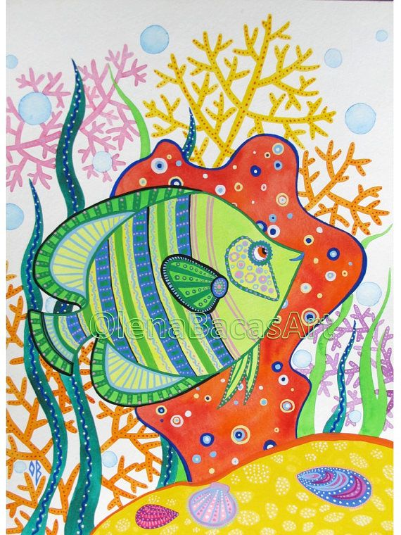 Green Fish Original Painting Watercolor Gouache Nautical