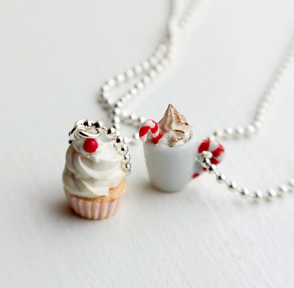 Cupcake and Cappuccino Best Friends Necklace - Miniature Food Jewelry - Food Jewelry. $10.75, via Etsy.
