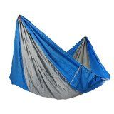 Yosoo(TM) Double Hammock - Lightweight Indoor and Outdoor Nylon Parachute Hammocks for Camping, Backpacking & Travel. Tree Ropes Included (blue & gray) @ Sunshine JMC