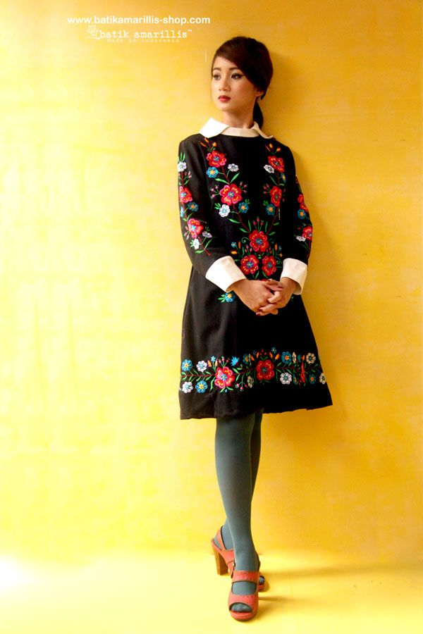 Batik Amarillis Made in Indonesia Proudly presents : Batik Amarillis's Wednesday dress ♥ ♥ ...elegant embellished dress with gorgeously intricate classic floral Polish embroidery style , accented with a crisp contrast collar and matching cuffs