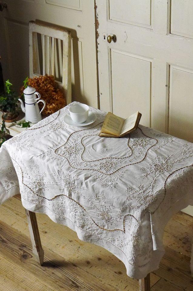 アンティーク テーブルクロスアンティーク クロッシェのテーブルクロス(正方形)  French Vintage Tablecloth