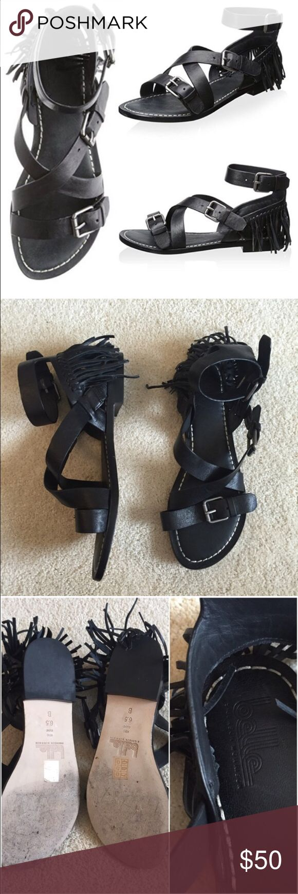 Belle by Sigerson Morrison sandals EUC Cute black leather sandals with fringe detail at back. Silver hardware. True 6.5 sizing Belle by Sigerson Morrison Shoes Sandals