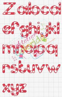 Cross-stitch Candy Cane ABCs, part 2... no color chart available, just use the pattern chart as your color guide.. or choose your own colors... Atelier Colorido PX
