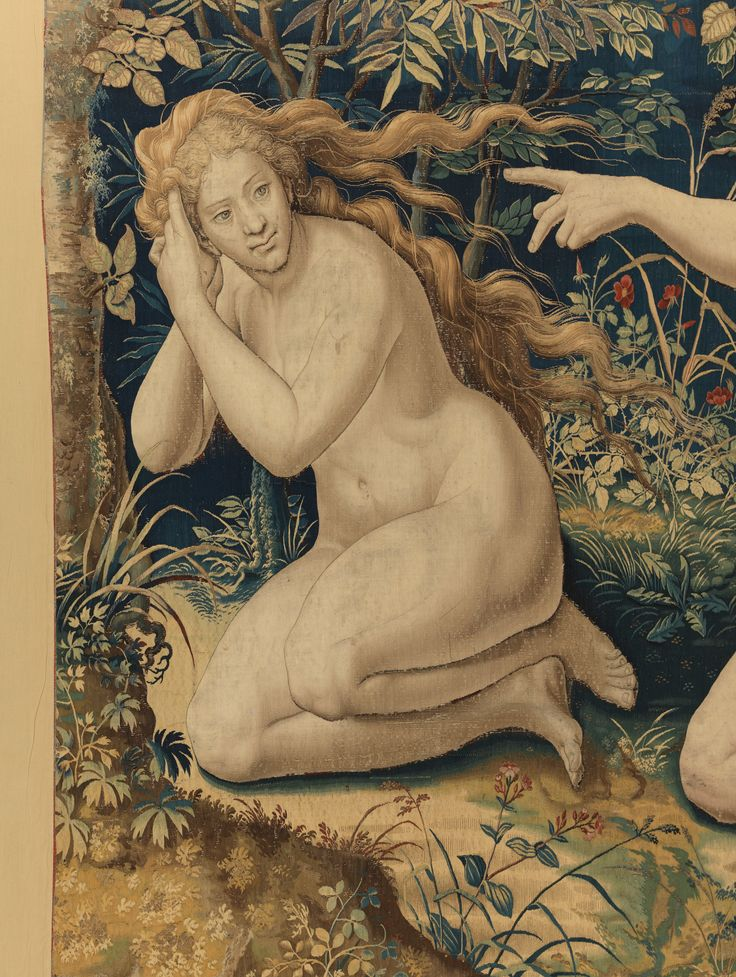 "Designed by Pieter Coecke van Aelst (Netherlandish, 1502–1550). Story of Creation: God Accuses Adam and Eve after the Fall tapestry (detail), ca. 1548. Woven under the direction of Jan de Kempeneer (Netherlandish, active 1540–56) and Frans Ghieteels (Netherlandish, active ca. 1545–after 1581), by 1551. Palazzo Pitti | This work will be featured in ""Grand Design: Pieter Coecke van Aelst and Renaissance Tapestry,"" on view October 8, 2014–January 11, 2015. #Coecke #tapestrytuesday"