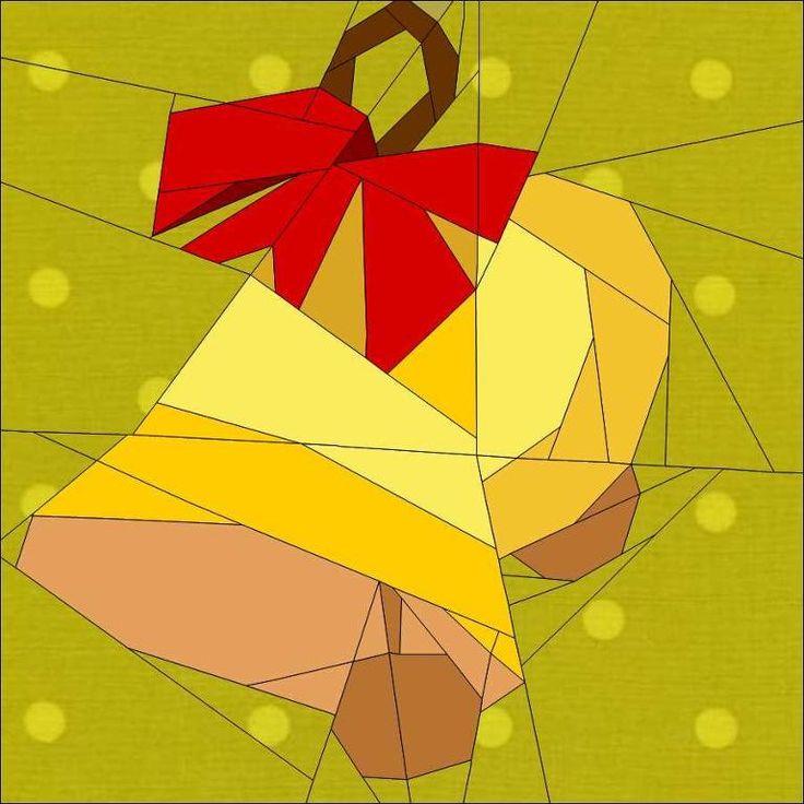 "Christmas Bells 10"" (25cm) paper pieced blocks quiltartdesigns.blogspot.com"