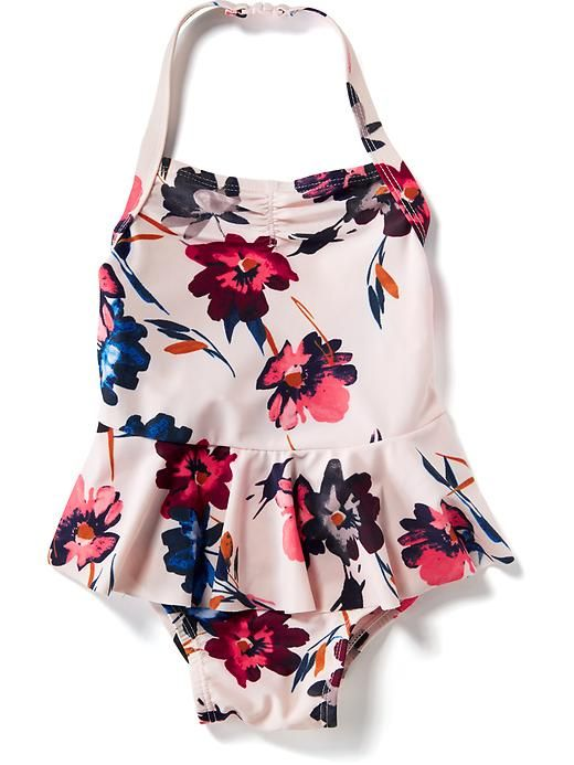 Floral-Print Peplum Swimsuit  $19.94 - 5t (pair with matching flip flops)                                                                                                                                                                                 More