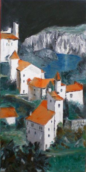 tableau peinture village perch paysage architecture paysages peinture a l 39 huile saint cirq. Black Bedroom Furniture Sets. Home Design Ideas
