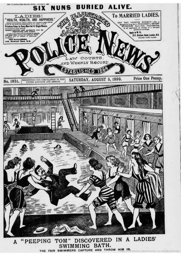 Victorian women find a peeping Tom in the women's bath. This is the way to deal with him, ladies! From The Illustrated Police News.