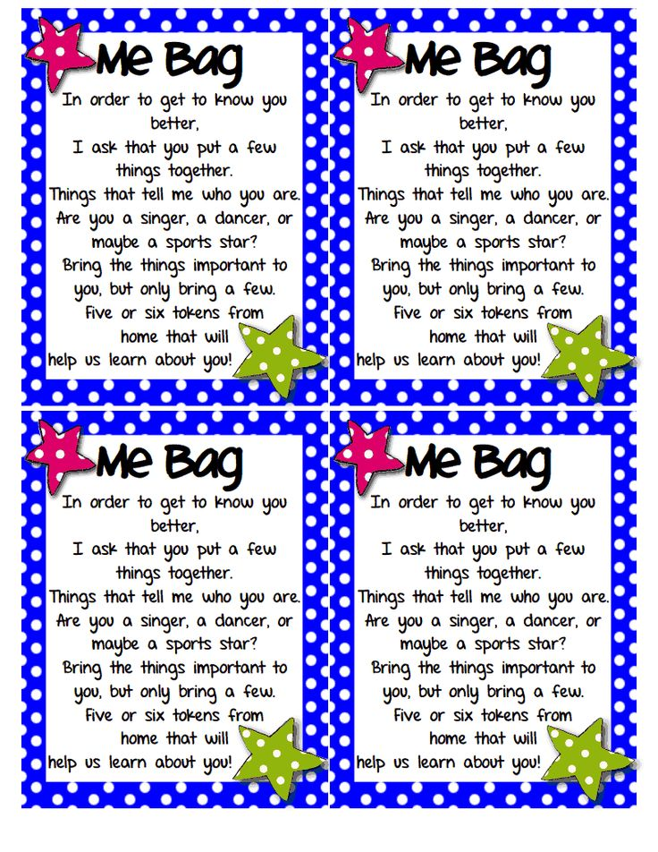 Love this for the first weeks of school while we learn names!  Me Bag.pdf - Google Drive