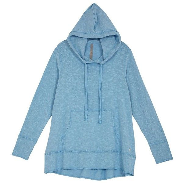 Melissa Mccarthy Seven7 Plus High-Low Hoodie ($98) ❤ liked on Polyvore featuring plus size women's fashion, plus size clothing, plus size tops, plus size hoodies, blue, plus size, cotton pullover hoodie, women's plus size tops and blue hoodie