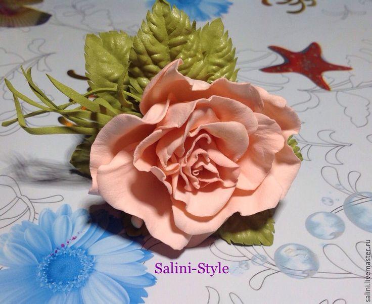 """Купить Резинка для волос из фоамирана """"Персиковое чудо"""" - кремовый, фоамиран, цветы ручной работы, цветы"""