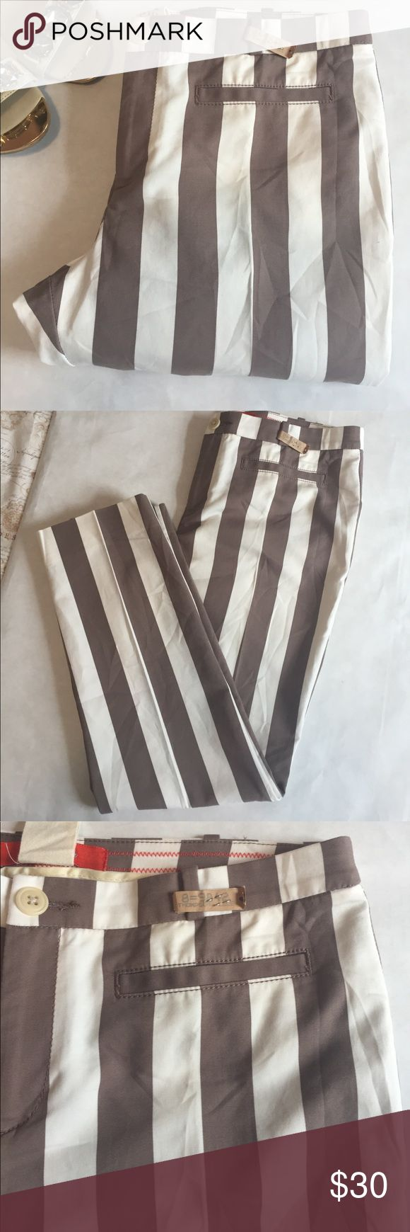 """Cartier Pants Cream and tan striped Cartier Pants from Anthropology. 16"""" waist. 26"""" inseam. Cotton/ Spandex. Leg tapers. Cropped. Just dry cleaned. EUC Anthropologie Pants Ankle & Cropped"""