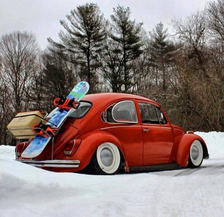 ♠ Loaded Bug...for better traction in the snow ?? incredible VW beetle.  .... ♠ VW beetle  budg # slammed # old school ♠... X Bros Apparel Vintage Motor T-shirts, VW Beetle & Bus T-shirts, Great price